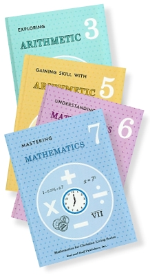 [stack of Rod and Staff arithmetic textbooks]