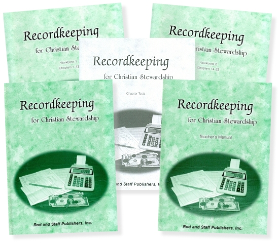 five book covers: Recordkeeping for Christian Stewardship